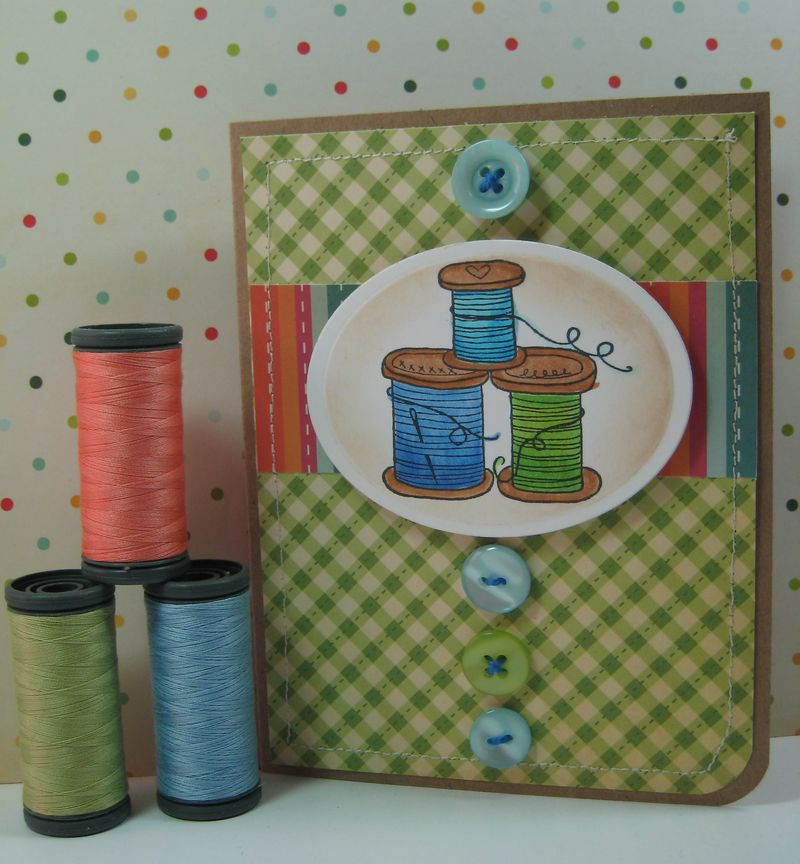 Material Girl Card with thread
