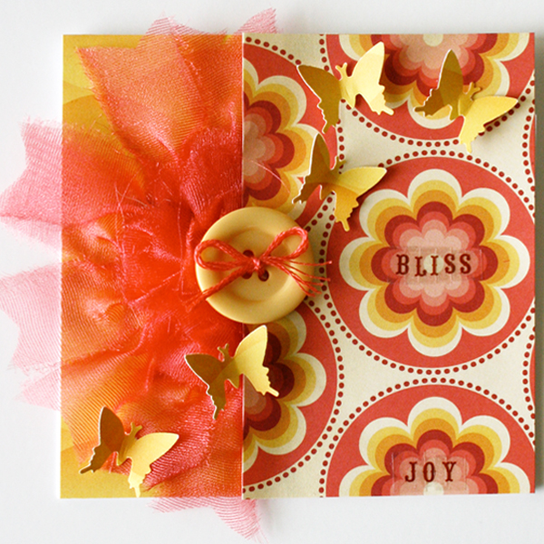 Butterfly card handmade gluber flower