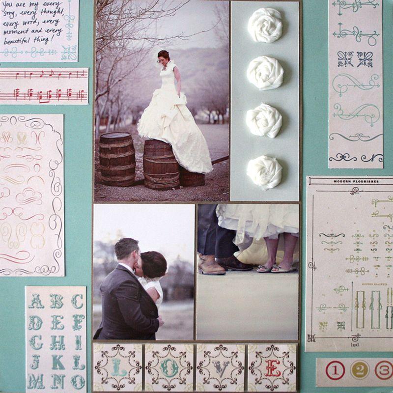 Odds & ends_wedding scrapbook layout_julie comstock_cosmo cricket