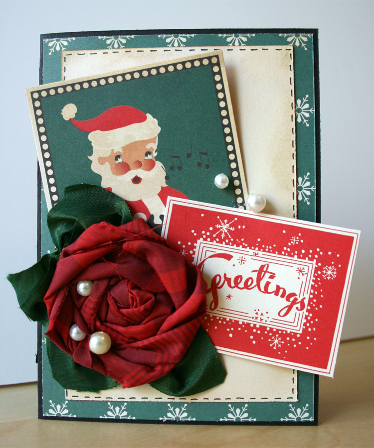 Christmas Card_santa_paper crafting_cardmaking_fabric flower_gluber