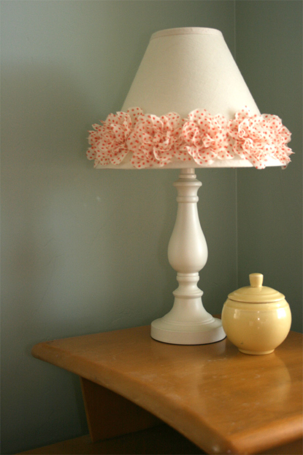 Gluber Fabric Flower Embellished Lamp Shade Cover