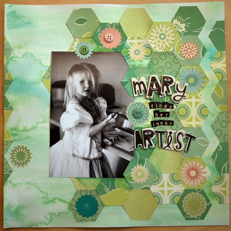Clementine scrapbook layout watercolor