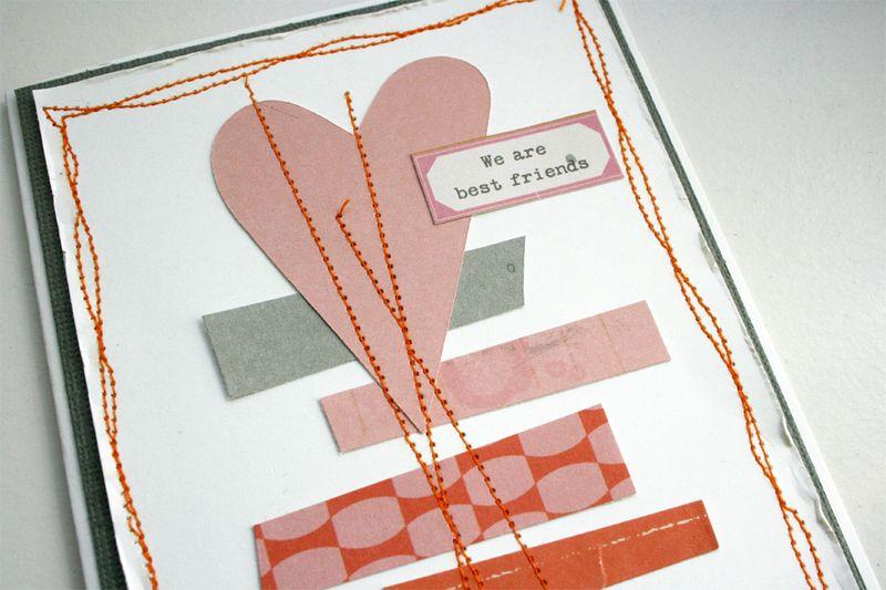 Best friends card with stitching_twenty three