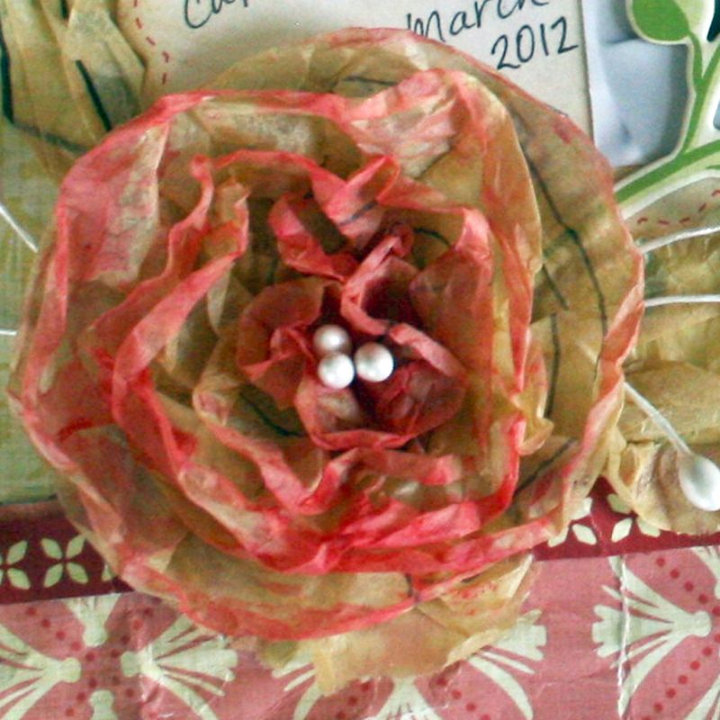 Painted tissue paper flower