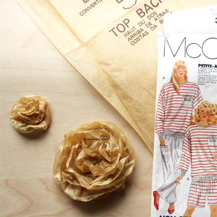 Sewing pattern tissue paper flowers
