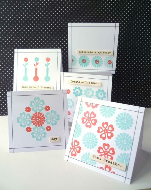 Stamps and tiny type cards