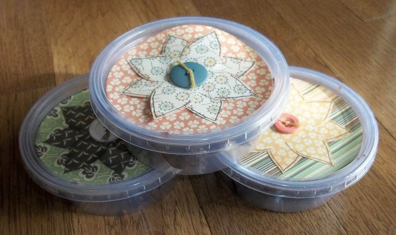 Re-use plastic containers as gift boxes