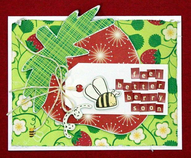 Spring card with tiny type stickers