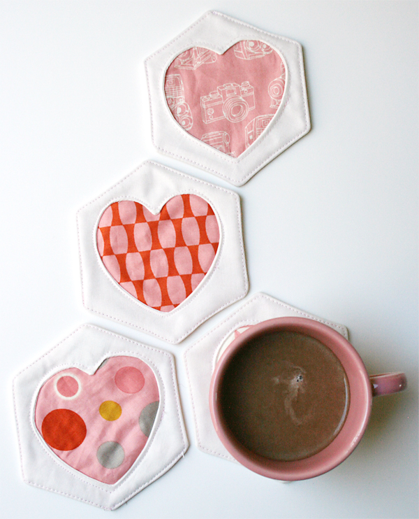 Hex & Heart Coasters | Eric and Julie Comstock for Moda Fabric