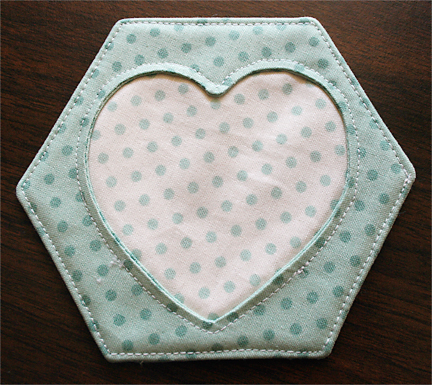 Top Stitching Hexagon Coasters | Julie Comstock