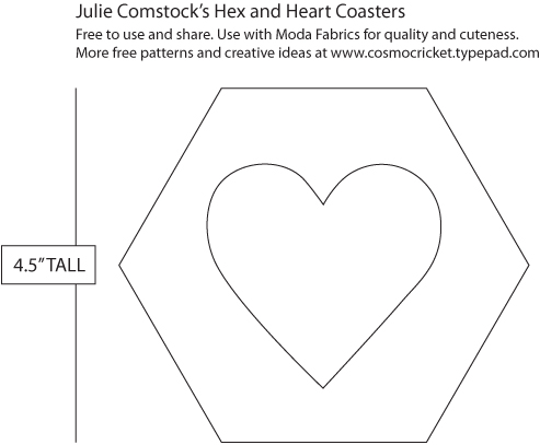 Hex and Heart Coasters | Free Pattern | Julie Comstock