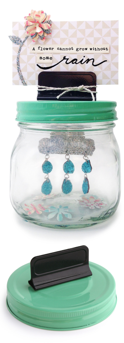 Mason Jar Lid with Clip in jadite | Cosmo Cricket Show Toppers