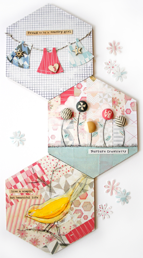 Shabby Chic Altered Hexagons | Cosmo Cricket copy