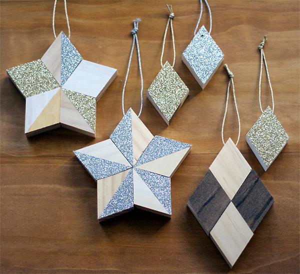 DIY Metallics on Wood Modern Ornaments