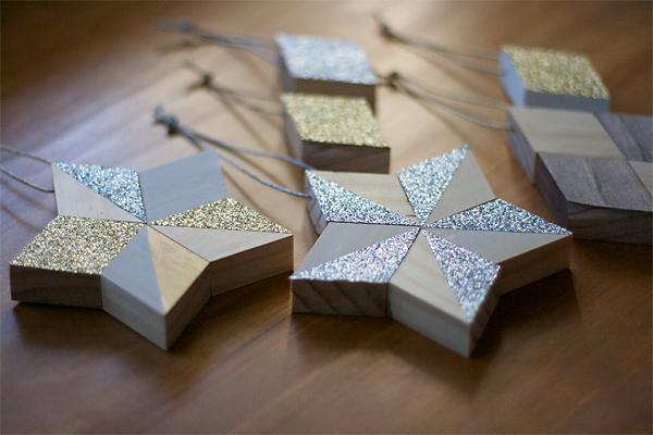 Metallic and Wood Diamond Ornaments DIY