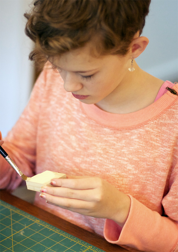 Kate Paints a Wood Diamond