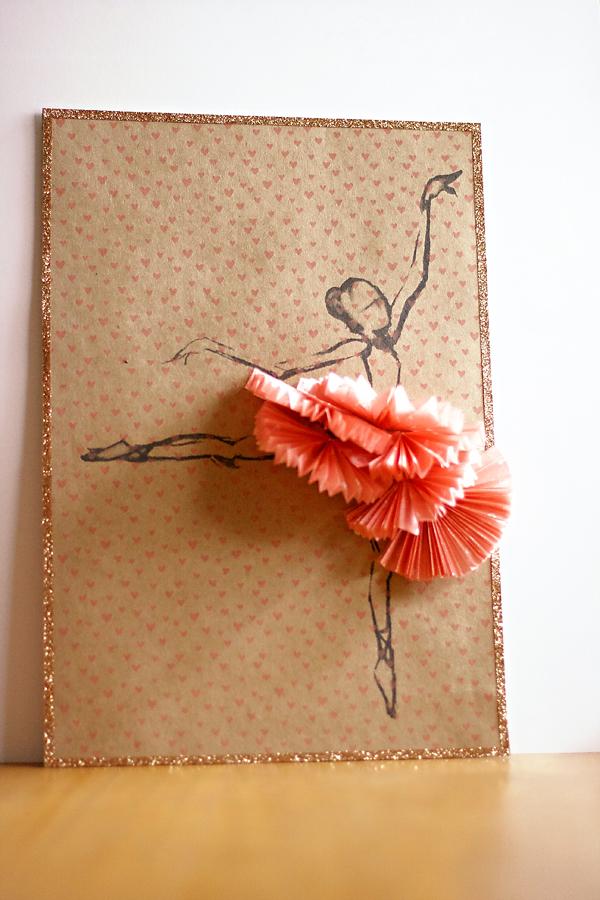 Ballerina on printed kraft   Cosmo Cricket