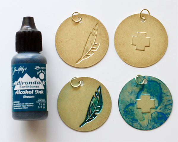 Gold Charms and Alcohol Ink