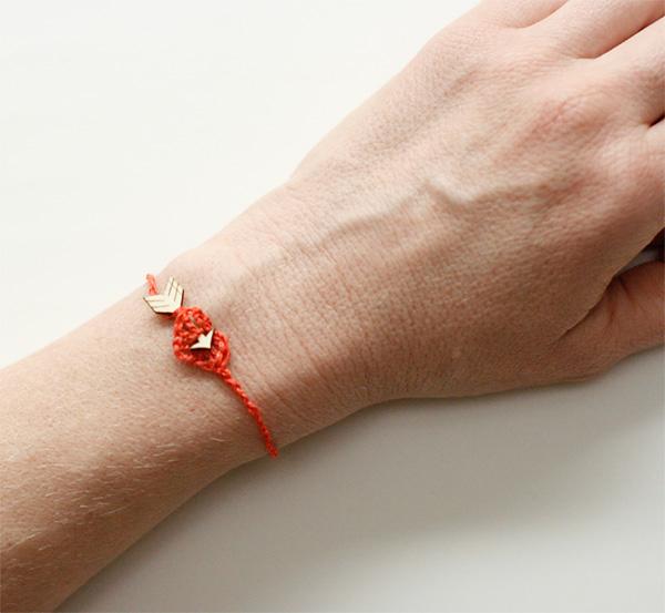 DIY Crochet Heart and Wood Arrow Bracelet