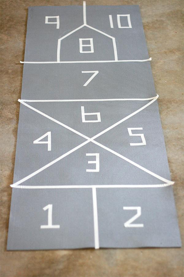 Painting a Yoga Mat Hopscotch