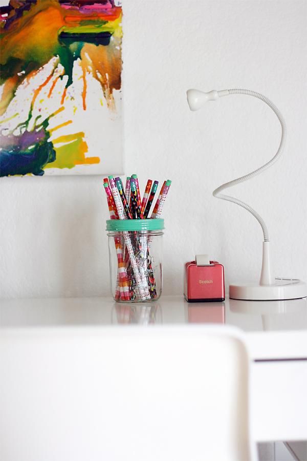 Study Area Mason Jar Pencil Holder