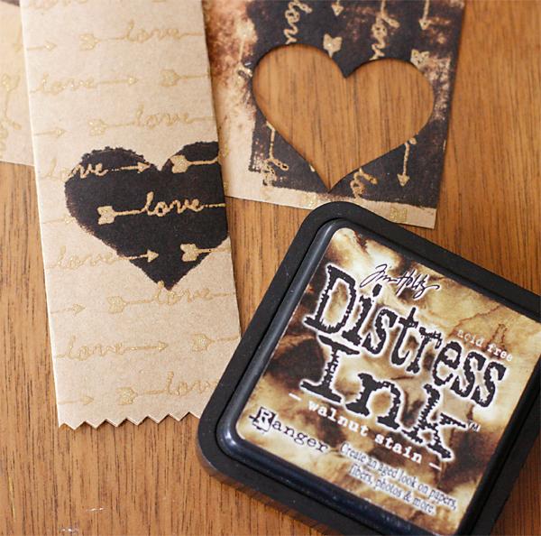Distress Ink on Glitter Printing
