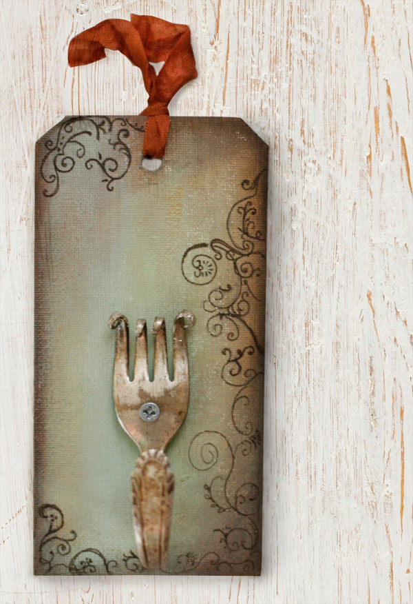 Bent fork on canvas tag