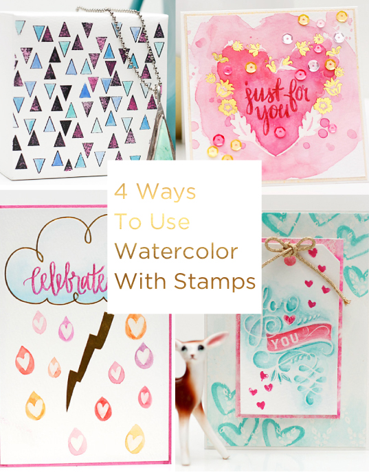 Watercolor with stamps