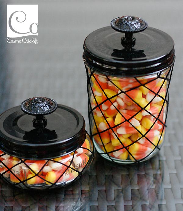 Mason Jars covered in fish net