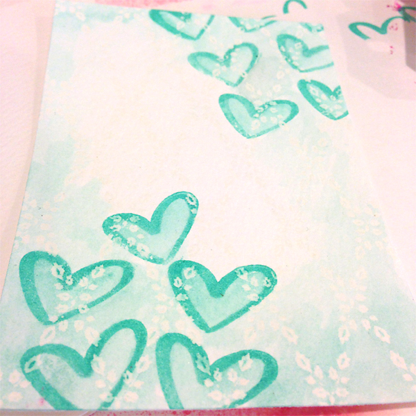 Watercoloring with stamp ink